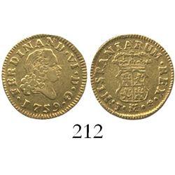 Madrid, Spain, bust 1/2 escudo, Ferdinand VI, 1759J.