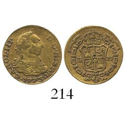 Madrid, Spain, bust 1/2 escudo, Charles III, 1773PJ.
