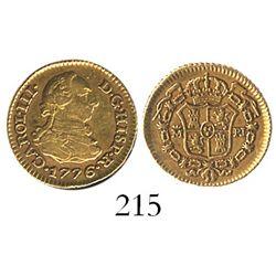 Madrid, Spain, bust 1/2 escudo, Charles III, 1776PJ.