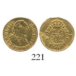 Madrid, Spain, bust 1/2 escudo, Charles III, 1788M.