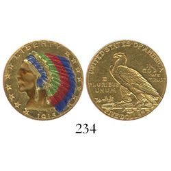 USA (Philadelphia mint), $5 Indian, 1915, enameled in color.