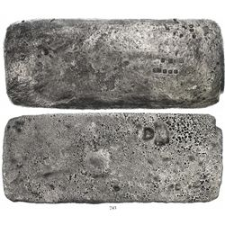 "Large ""tumbaga"" silver bar #M-101, 12.6 lb av, marked with fineness IVLXXX (1530/2400), owner B~Vo,"