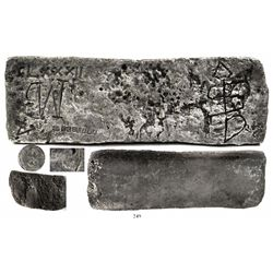 Large silver bar #182, 90 lb 0.32 oz troy, Class Factor 0.7, with special certificate.
