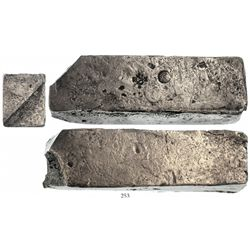 Neatly formed silver ingot, 1954 grams, about 98.5% fine, with stamps of the Zeeland chamber of the