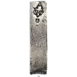 Neatly formed silver ingot, 1969 grams, about 98.5% fine, with stamps of the Amsterdam chamber of th