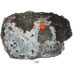 Large copper ingot from the Atocha (1622), 69 lb av (+/-), original certificate missing.