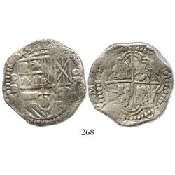 Potosi, Bolivia, cob 8 reales, Philip II, assayer B (5th period), Grade 1.