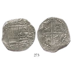 Potosi, Bolivia, cob 8 reales, Philip III, assayer not visible, upper half of shield and quadrants o