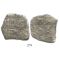 Cartagena, Colombia, cob 8 reales, assayer A to right (1621-22), mintmark RN to left, Grade 3, rare.