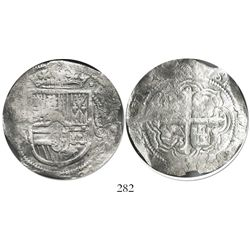 Mexico City, Mexico, cob 8 reales, Philip III, assayer A, Grade 1.