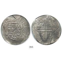 Mexico City, Mexico, cob 8 reales, (1)611, assayer D(!), Grade 1, very rare.