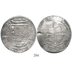 Mexico City, Mexico, cob 8 reales, (16)12/1(F), Grade 1, rare.