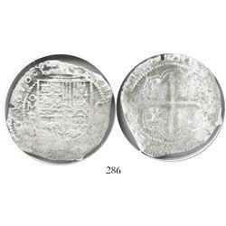Mexico City, Mexico, cob 8 reales, 1618F, Grade 3, very rare.