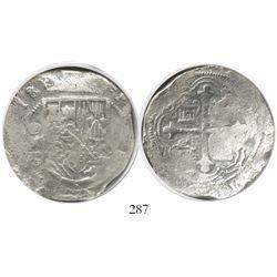 Mexico City, Mexico, cob 8 reales, (16)18/7/6D/F, Grade 1, very rare.