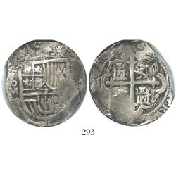 Mexico City, Mexico, cob 8 reales, Philip III, assayer D, Grade 1.