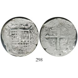 Mexico City, Mexico, cob 4 reales, (16)15(F), Grade 2, very rare.