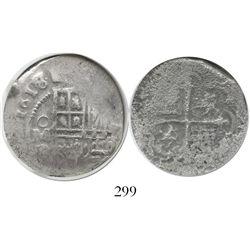 Mexico City, Mexico, cob 4 reales, 1618/7D, Grade 2, very rare.