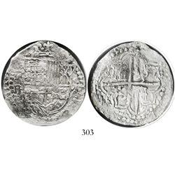 Potosi, Bolivia, cob 8 reales, Philip III, assayer R (curved leg), Grade 1.