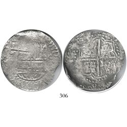 Potosi, Bolivia, cob 8 reales, Philip III, assayer M, quadrants of cross transposed, Grade 1.
