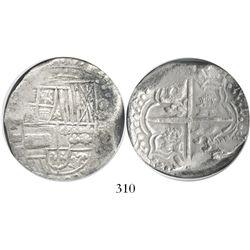 Potosi, Bolivia, cob 8 reales, Philip III, assayer T, quadrants of cross transposed, denomination 8,
