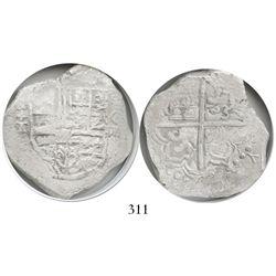 Potosi, Bolivia, cob 8 reales, Philip III, assayer T, upper half of shield transposed, Grade 1.