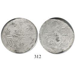Potosi, Bolivia, cob 4 reales, Philip II, assayer A, Grade 2.