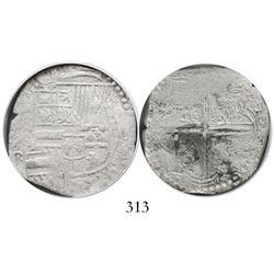 Potosi, Bolivia, cob 4 reales, Philip II, assayer B (4th period), Grade 1.