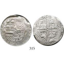 Potosi, Bolivia, cob 4 reales, Philip III, assayer RL (curved leg), Grade 1.