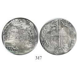 Potosi, Bolivia, cob 4 reales, Philip III, assayer Q, quadrants of cross transposed, Grade 1.
