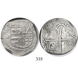 Potosi, Bolivia, cob 4 reales, (1)617M, rotated lions, Grade 1.