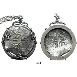 Mexico City, Mexico, cob 8 reales, Philip IV, assayer D, mounted shield-side out in a silver bezel w