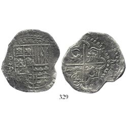 Potosi, Bolivia, cob 8 reales, (1622-3)P, quadrants of cross transposed, rare as from this wreck, wi