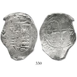 Mexico City, Mexico, cob 8 reales, Philip IV, assayer P, with canvas impression on obverse.