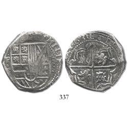 """Potosi, Bolivia, cob 8 reales, 1630T, """"+"""" ornaments, rare."""