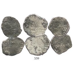 Lot of 3 Potosi, Bolivia, cobs (one 4R and two 2R), Philip IV, assayer TR where visible.