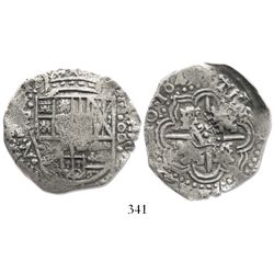Potosi, Bolivia, cob 8 reales, 1649Z/R (very rare), crowned-L countermark on cross.