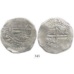 Potosi, Bolivia, cob 8 reales, (16)49O, no countermark (rare).