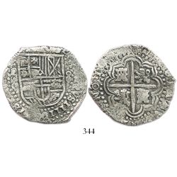 Potosi, Bolivia, cob 8 reales, 16(49)O, no countermark (rare).