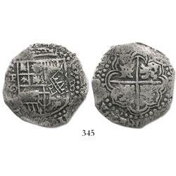 Potosi, Bolivia, cob 8 reales, (1649)O, crowned-PH countermark on shield.