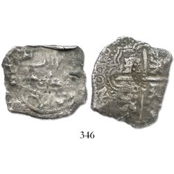 Potosi, Bolivia, cob 8 reales, 1649(O), with crowned-(?) countermark on cross.