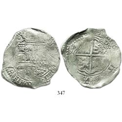 Potosi, Bolivia, cob 8 reales, 1.6.(5.)0O, no countermark (rare).