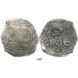Potosi, Bolivia, cob 8 reales, 1650O (large Spanish 5), crowned-L countermark on cross.
