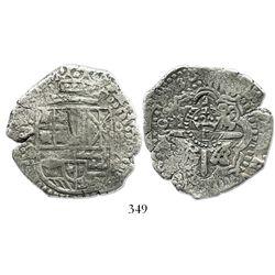 Potosi, Bolivia, cob 8 reales, 1650O (small Spanish 5), crowned-L countermark on cross.