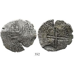 Potosi, Bolivia, cob 8 reales, (1)650O, with arms countermark at edge on cross side.