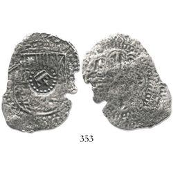 Potosi, Bolivia, cob 8 reales, (165)0O, with crown-alone countermark on shield.