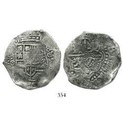 Potosi, Bolivia, cob 8 reales, (1650)O, crowned-S countermark on cross (scarce).