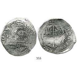 Potosi, Bolivia, cob 8 reales, (165)1O, crowned-.F. countermark on shield.