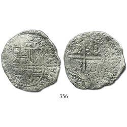 Potosi, Bolivia, cob 8 reales, (1649-51)O, no countermark (rare).