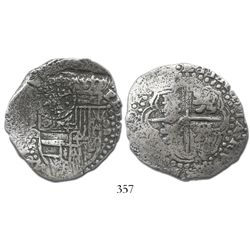 Potosi, Bolivia, cob 8 reales, (1649-51)O, with crowned-.F. countermark on shield.