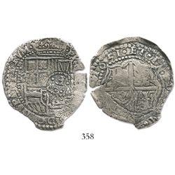 Potosi, Bolivia, cob 8 reales, 1651E, crowned-.F. countermark on shield.